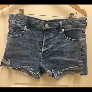 Express cut off denim short destructed
